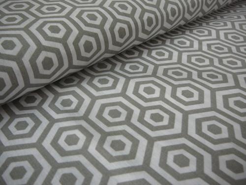 metráž - šedé šestiúhelníky - šíře140cm