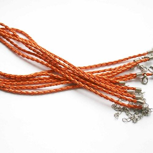 kožená šňůrka spletená oranžová AKCE