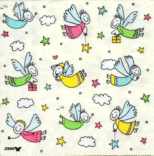 Papírový ubrousek,andělíčci,dětské,2ks