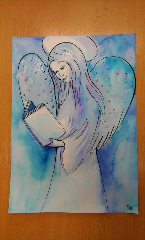 Modrofialový anděl
