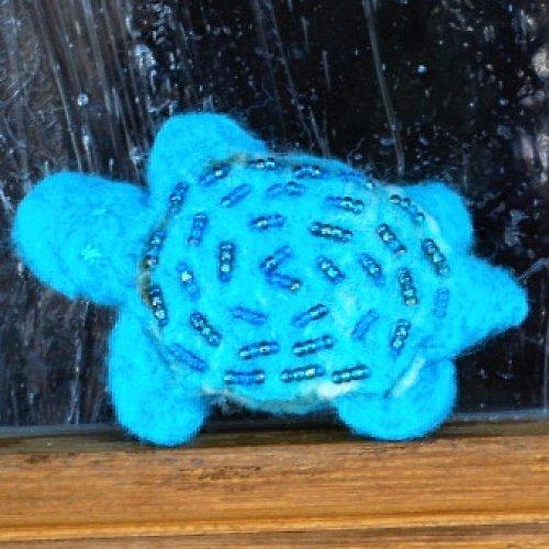 Plstěná želvička  - modrá