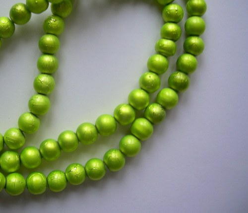 Korálky Ø10mm metalízované sv. zelené - 10 ks