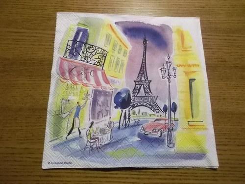 Ubrousek na decoupage - kavárna u Eiffelovky