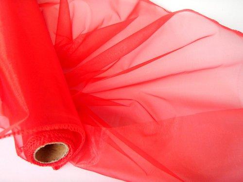 Organza červená obroubená
