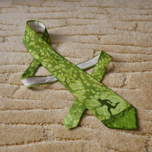 Hedvábná kravata s běžcem zelená na přání