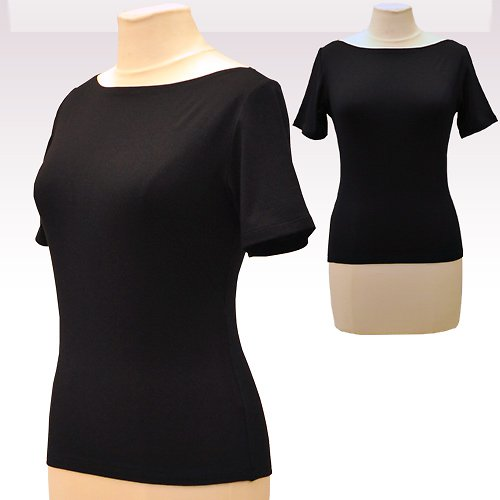 Černé tričko belaroma krátký rukáv, lodičkový výs