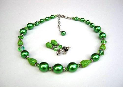 Deep forest set, náhrdelník, náramek, náušnice