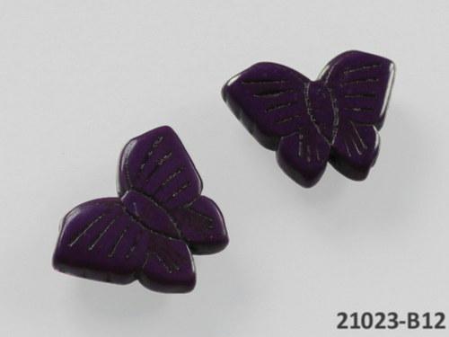 21023-B12 Motýlek z howlitu fialový 27/20, á 1ks