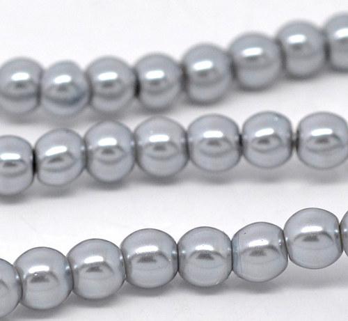 perly skleněné / šedá / 8mm/ 14ks