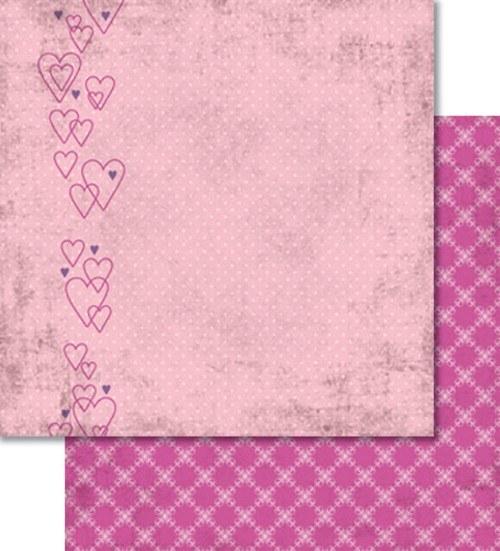 Oboustranný papír - Love obrysy srdíček