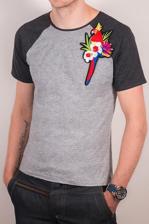 Tričko s nášivkou - papoušek
