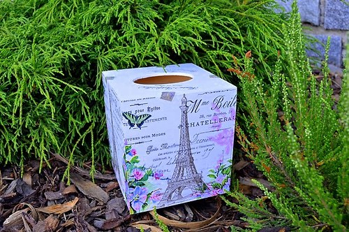 Krabička na kapesníky - květinová Paříž