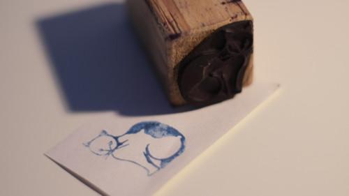 Dětské razítko s obrázkem, tiskátko kočka