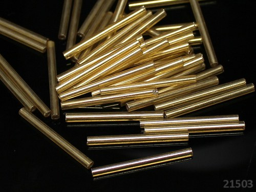 21503 Skleněné trubičky 30mm ZLATÉ, bal.15g