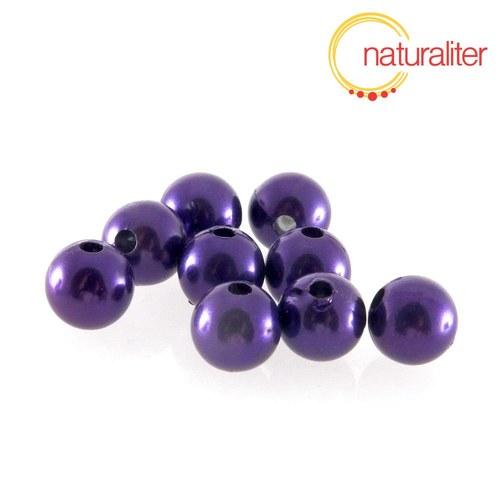 Voskované perly, fialové, 10mm, 10ks