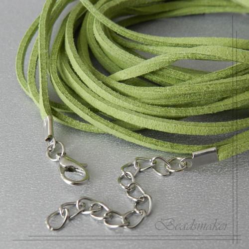 Sametová šňůrka, zelená, 1 ks