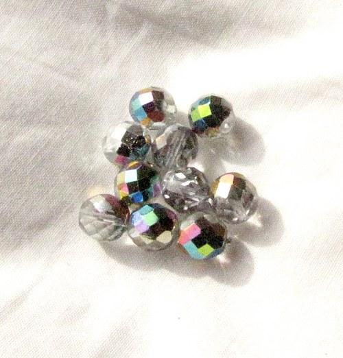 Broušené krystal korálky 10 mm 10 ks s AB efektem