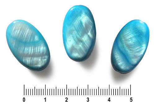 Perleťový oválek tyrkysový, 16 x 25 mm, 1 ks