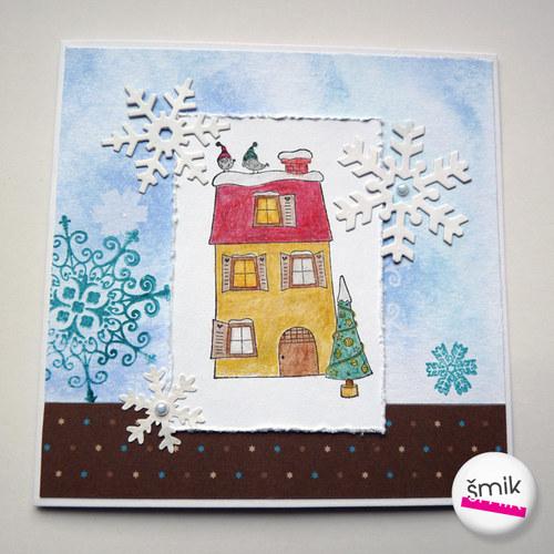 vánoční přání se zasněženým domem