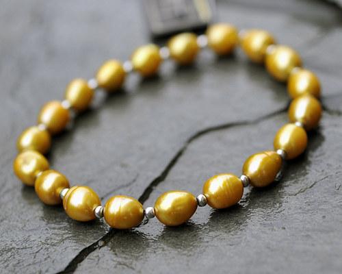 Náramek zlaté říční perly  B0027G