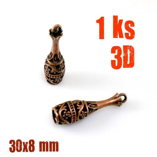 LÁHEV ARCHIVNÍ 3D měď ANTIQUE 30x8 mm 1ks