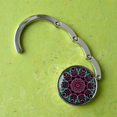 Háček na kabelku - zelenorůžový