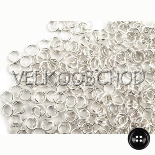 Dvojité kroužky pr.5 mm (250 ks) - stříbro