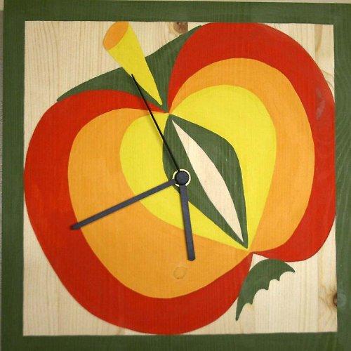 """Hodiny \""""Jablko\"""" - malba na dřevu"""