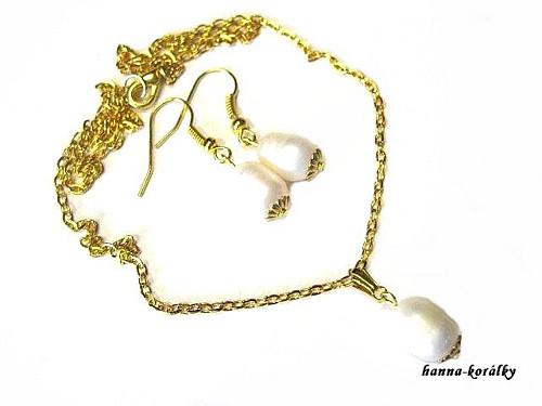 Souprava - řetízek s perlou + naušnice