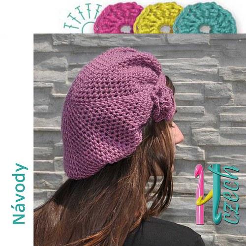 Háčkovaný baret síťovaný růžový