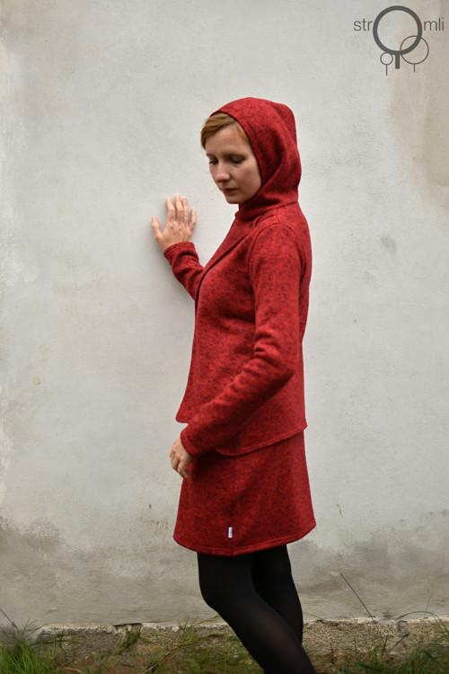 Ležérní svetřík červený s kapucí, vel. XS