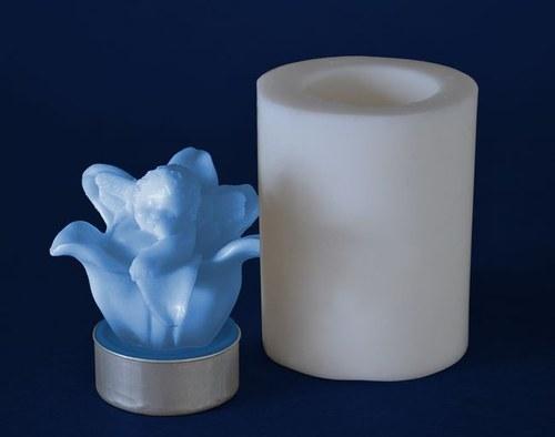 Silikon. forma na čaj. svíčku- Andělíček v kvítku