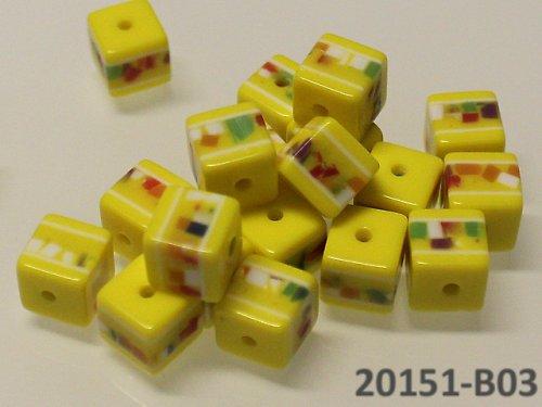 20151-B03 Korálky kostky mozaika ŽLUTÉ bal.10ks