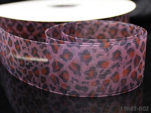 19643-B02 Stuha organza 38mm gepard barevný, á 1m
