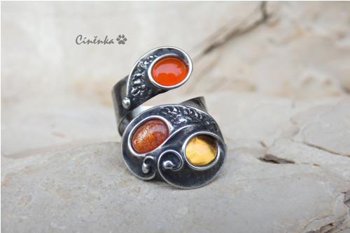 Tříbarevný prsten - citrín,karneol,slunenční k.