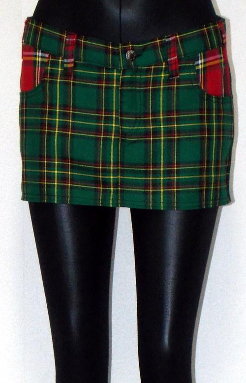 sukně zelená kostka