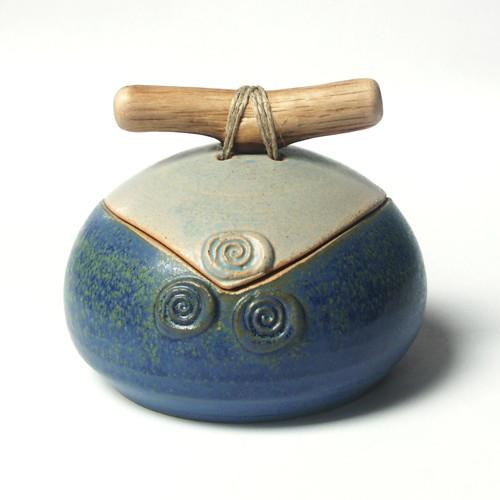 Modrá se spirálkami - keramická dóza