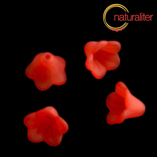 Květina akrylová - zvonek 14mm červená, 8ks