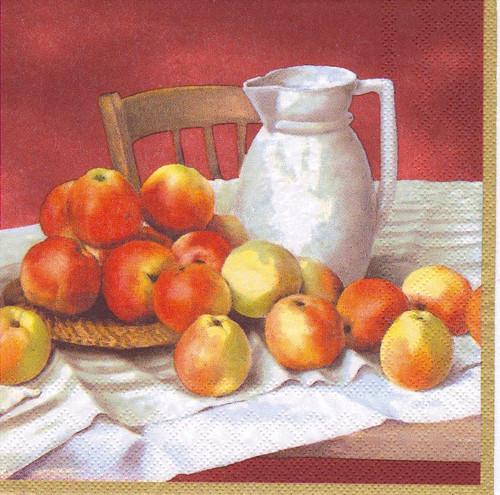 Ubrousek - zátiší s jablky