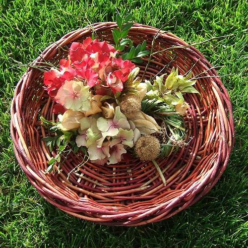 Dekorační košíček s hortenzií