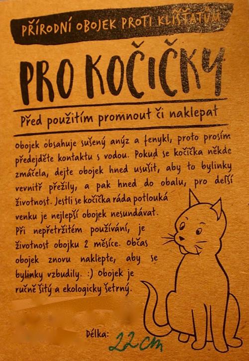 Přírodní obojek proti klíšťatům pro kočičky