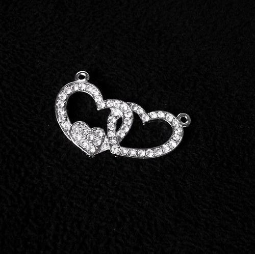 Přívěšek 2 srdcí s kamínky