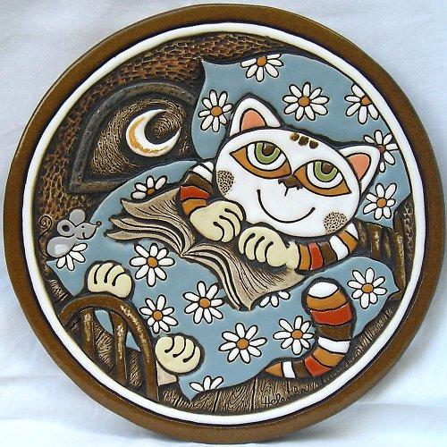 Keramický obrázek - Kočka v peřině K-132-N