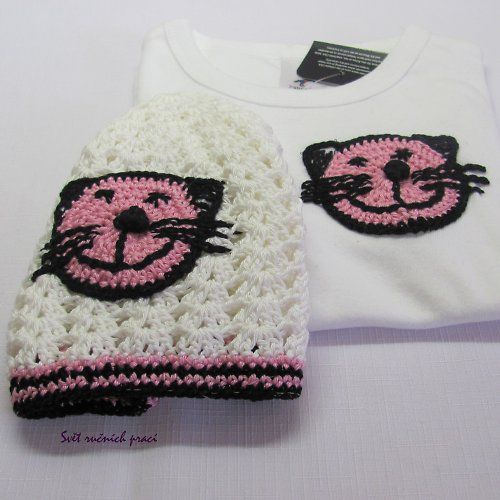 Růžoví kočičáci  -tričko s čepičkou
