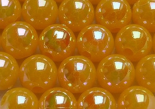 Plastové kuličky duhové 6 mm - žlutooranž. / 10 ks