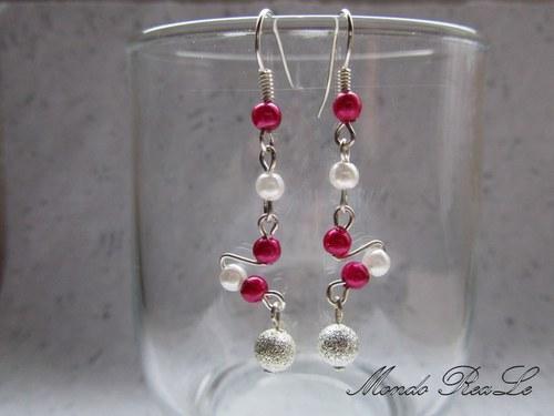 Náušnice - fialkovo stříbrné perličky