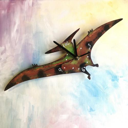 Dřevěné nástěnné hodiny - Pterosaurus