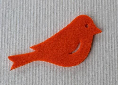 Výsek z plsti - ptáček oranžový