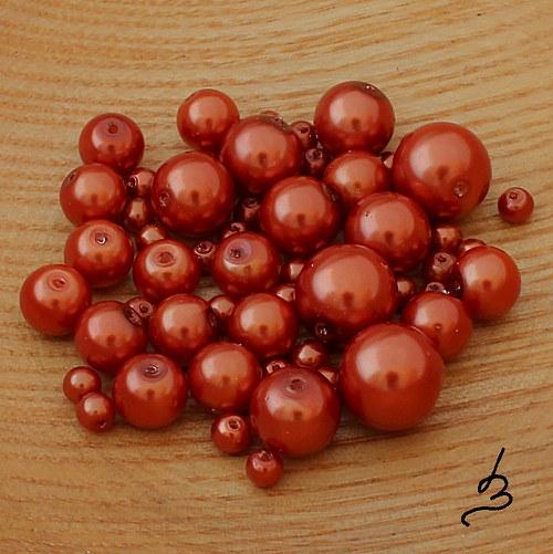 Voskové perle oranžovo-měděné - 50 g