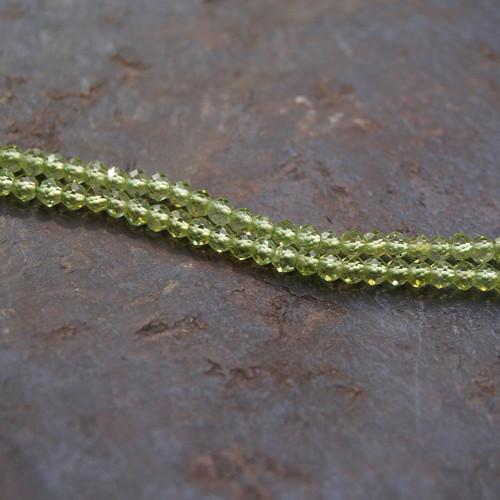 Olivín, fazetované korálky 2mm, 10ks